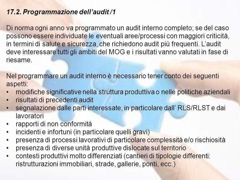 17.2. Programmazione dell'audit /1 Di norma ogni anno va programmato un audit interno completo; se del caso possono essere individuate le eventuali ar
