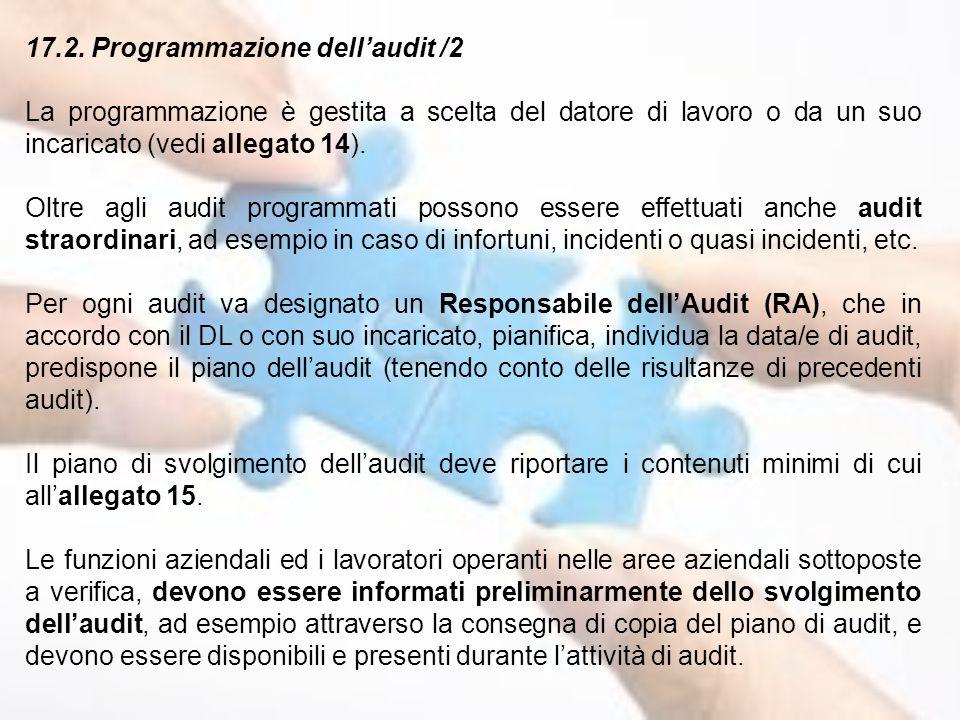 17.2. Programmazione dell'audit /2 La programmazione è gestita a scelta del datore di lavoro o da un suo incaricato (vedi allegato 14). Oltre agli aud
