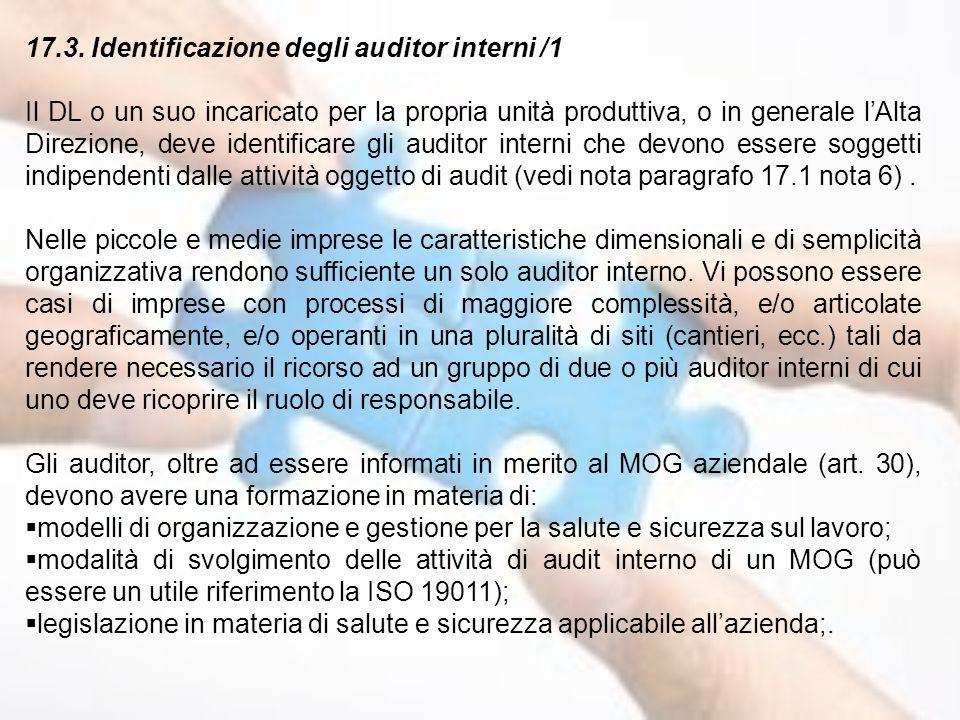 17.3. Identificazione degli auditor interni /1 Il DL o un suo incaricato per la propria unità produttiva, o in generale l'Alta Direzione, deve identif