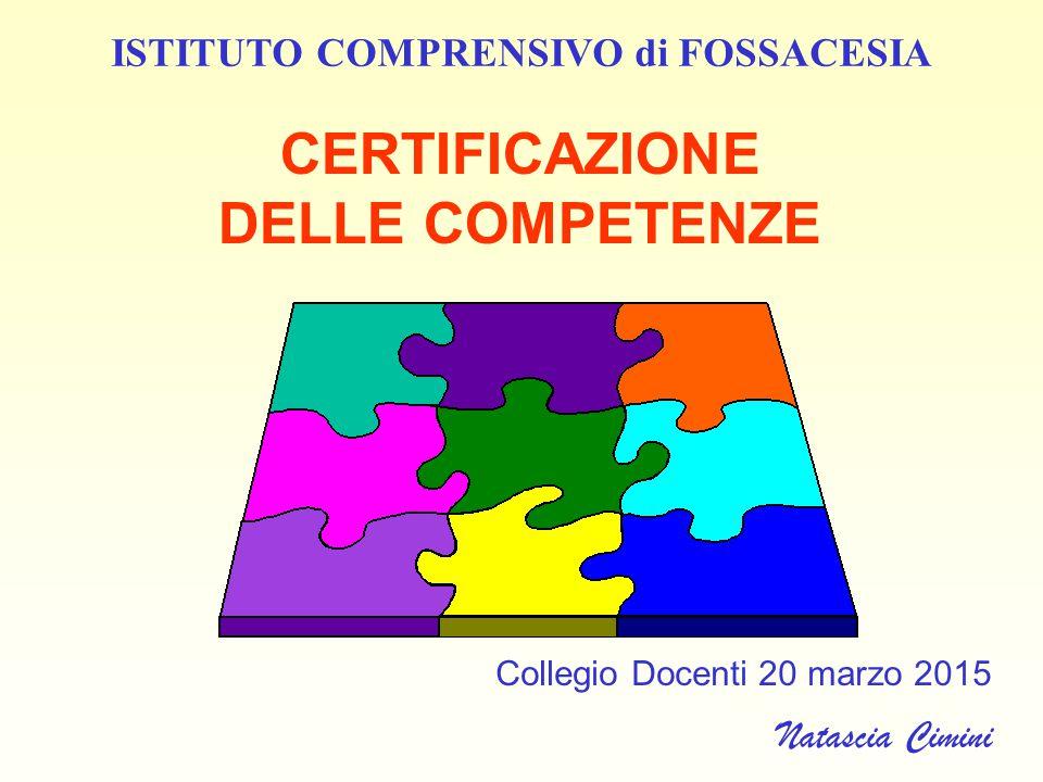 CERTIFICAZIONE DELLE COMPETENZE Collegio Docenti 20 marzo 2015 Natascia Cimini ISTITUTO COMPRENSIVO di FOSSACESIA