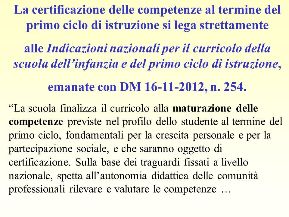 La certificazione delle competenze al termine del primo ciclo di istruzione si lega strettamente alle Indicazioni nazionali per il curricolo della scu