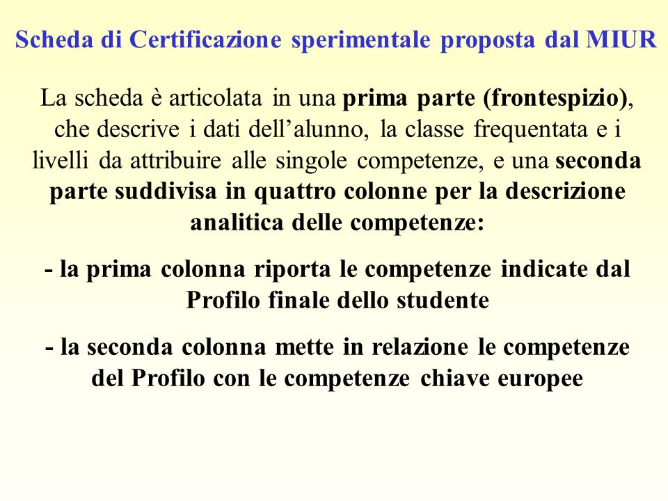 Scheda di Certificazione sperimentale proposta dal MIUR La scheda è articolata in una prima parte (frontespizio), che descrive i dati dell'alunno, la