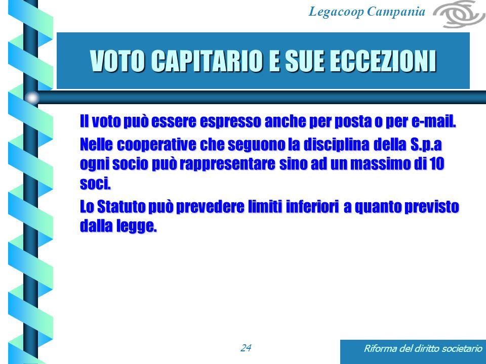 Legacoop Campania Riforma del diritto societario24 VOTO CAPITARIO E SUE ECCEZIONI Il voto può essere espresso anche per posta o per e-mail.