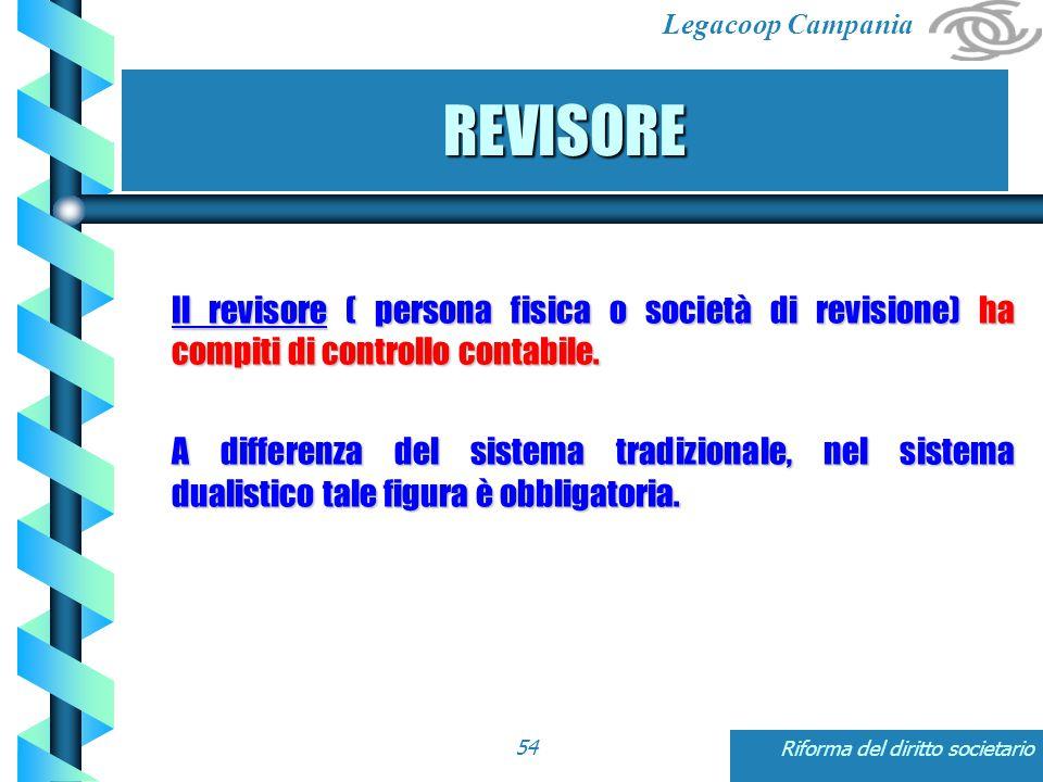 Legacoop Campania Riforma del diritto societario54 REVISORE Il revisore ( persona fisica o società di revisione) ha compiti di controllo contabile.