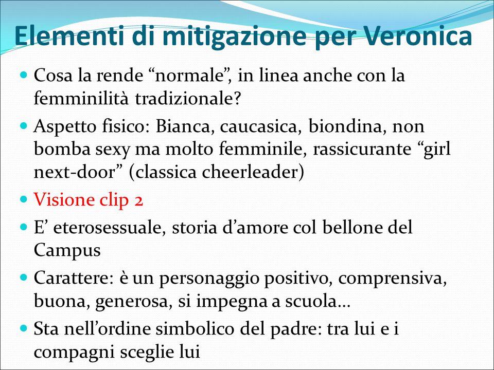 """Elementi di mitigazione per Veronica Cosa la rende """"normale"""", in linea anche con la femminilità tradizionale? Aspetto fisico: Bianca, caucasica, biond"""