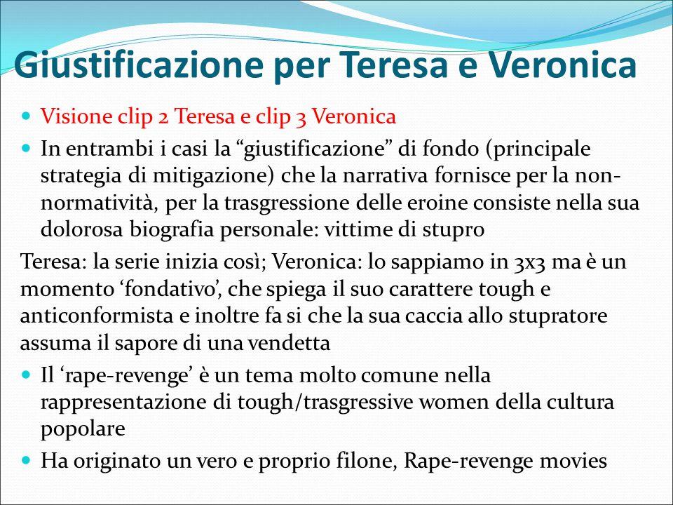 """Giustificazione per Teresa e Veronica Visione clip 2 Teresa e clip 3 Veronica In entrambi i casi la """"giustificazione"""" di fondo (principale strategia d"""