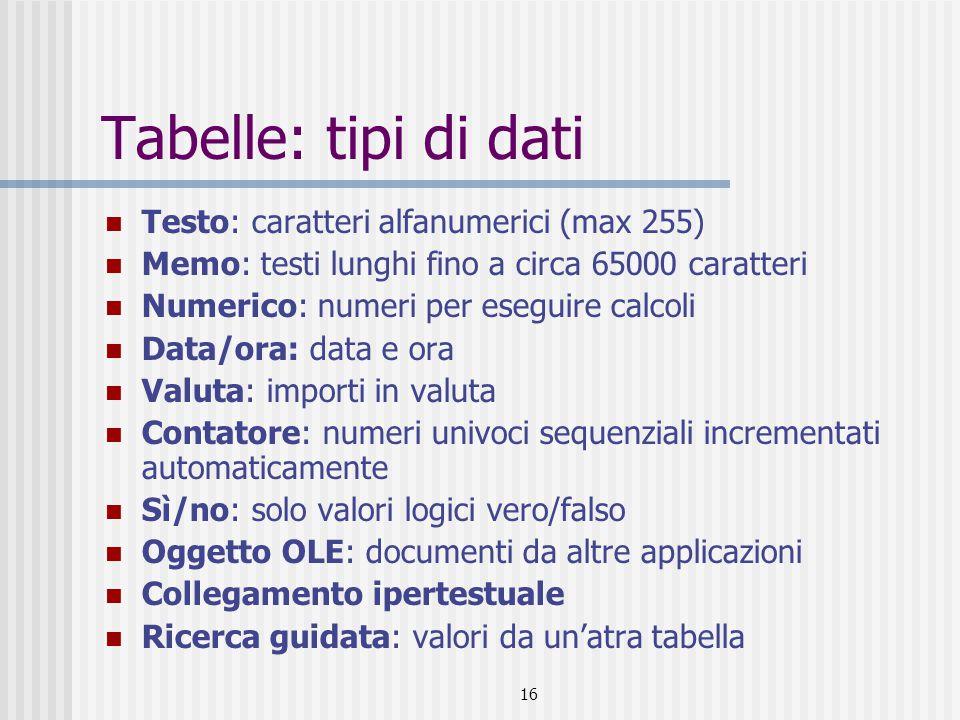 16 Tabelle: tipi di dati Testo: caratteri alfanumerici (max 255) Memo: testi lunghi fino a circa 65000 caratteri Numerico: numeri per eseguire calcoli