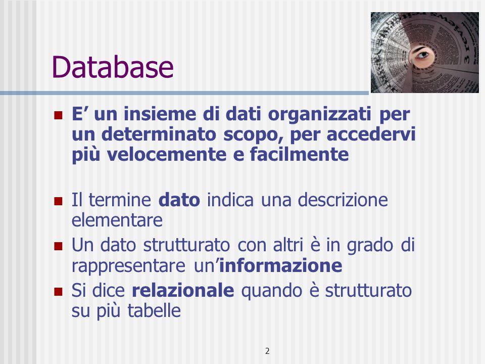 2 Database E' un insieme di dati organizzati per un determinato scopo, per accedervi più velocemente e facilmente Il termine dato indica una descrizione elementare Un dato strutturato con altri è in grado di rappresentare un'informazione Si dice relazionale quando è strutturato su più tabelle