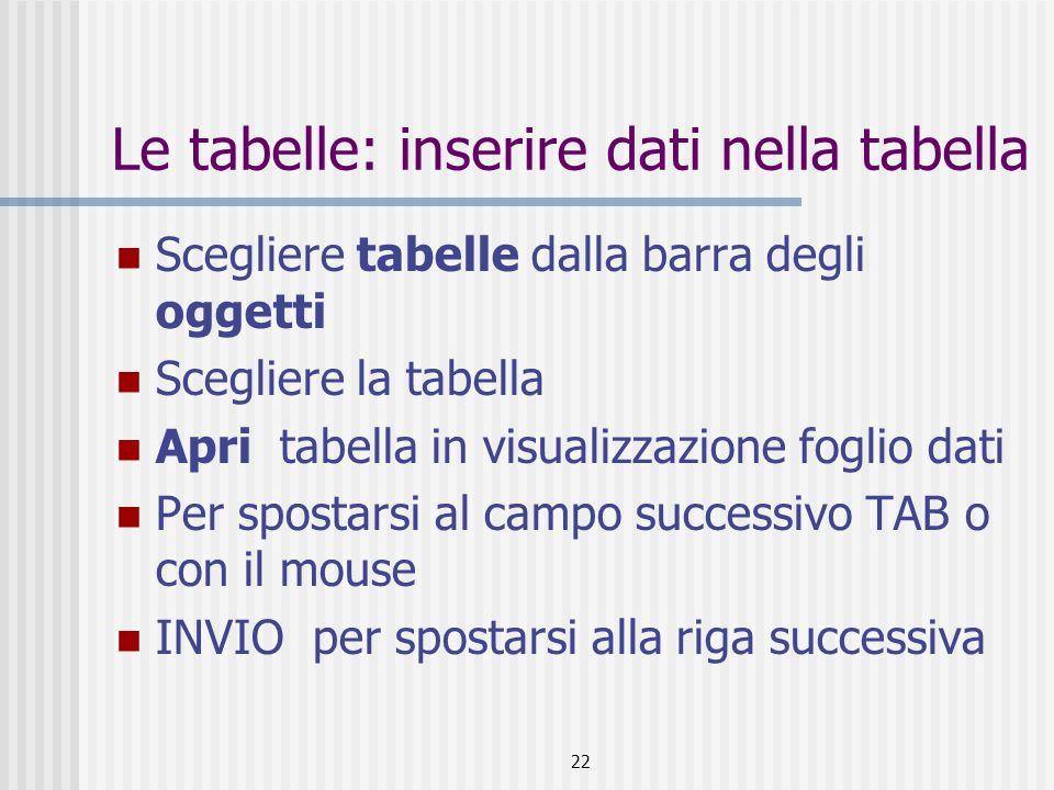 22 Le tabelle: inserire dati nella tabella Scegliere tabelle dalla barra degli oggetti Scegliere la tabella Apri tabella in visualizzazione foglio dat