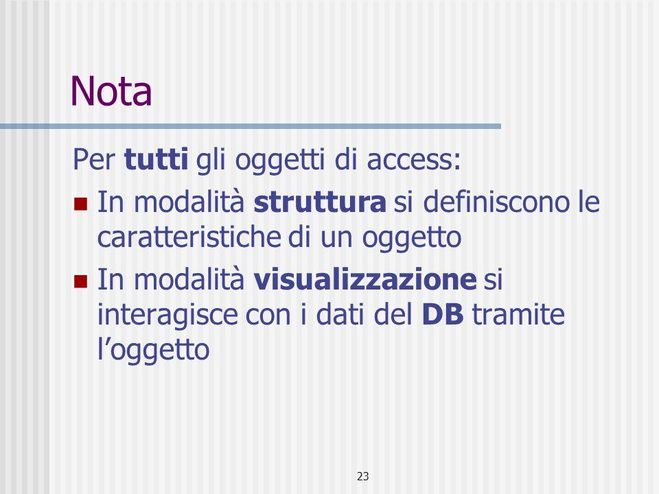 23 Nota Per tutti gli oggetti di access: In modalità struttura si definiscono le caratteristiche di un oggetto In modalità visualizzazione si interagisce con i dati del DB tramite l'oggetto