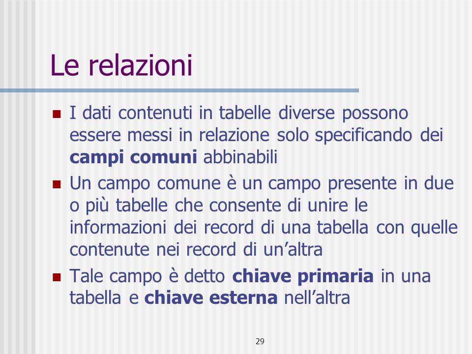 29 Le relazioni I dati contenuti in tabelle diverse possono essere messi in relazione solo specificando dei campi comuni abbinabili Un campo comune è
