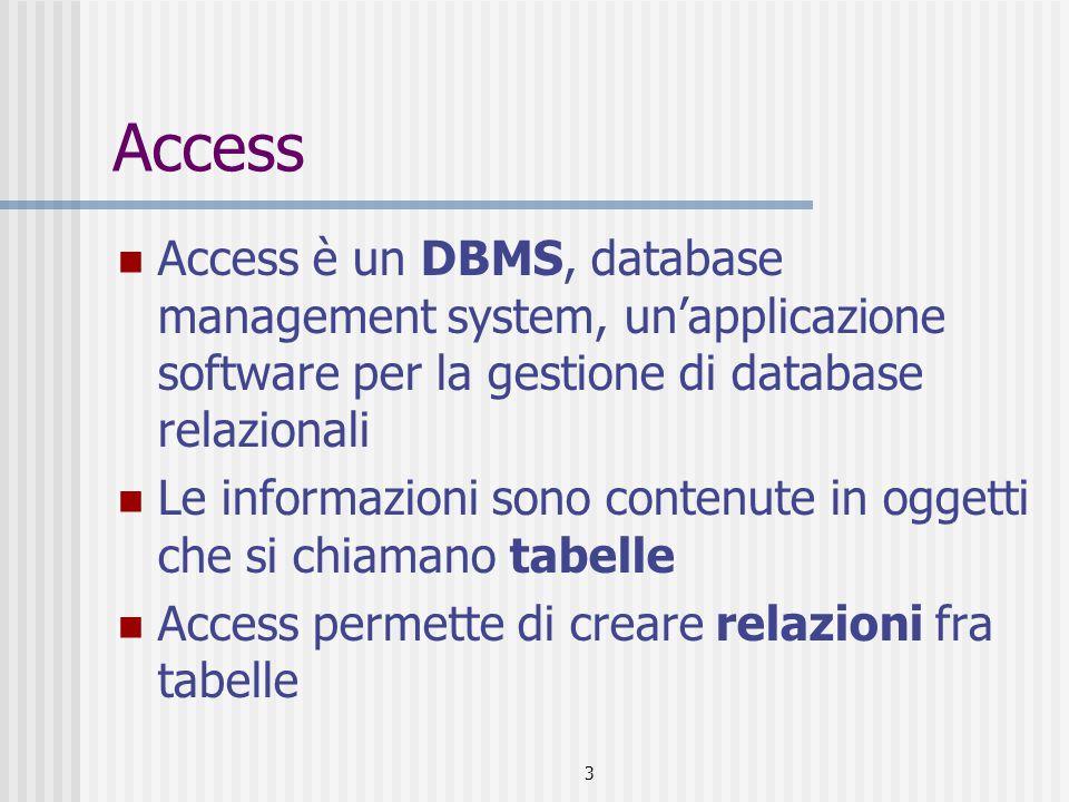 3 Access Access è un DBMS, database management system, un'applicazione software per la gestione di database relazionali Le informazioni sono contenute in oggetti che si chiamano tabelle Access permette di creare relazioni fra tabelle