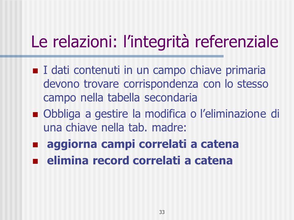 33 Le relazioni: l'integrità referenziale I dati contenuti in un campo chiave primaria devono trovare corrispondenza con lo stesso campo nella tabella secondaria Obbliga a gestire la modifica o l'eliminazione di una chiave nella tab.