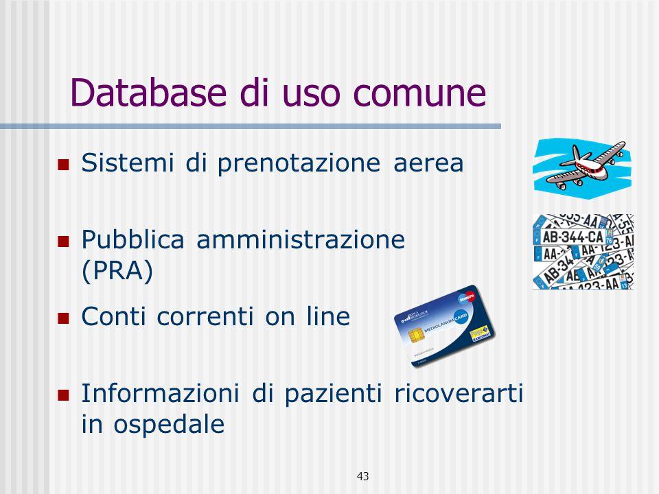 43 Database di uso comune Sistemi di prenotazione aerea Pubblica amministrazione (PRA) Conti correnti on line Informazioni di pazienti ricoverarti in