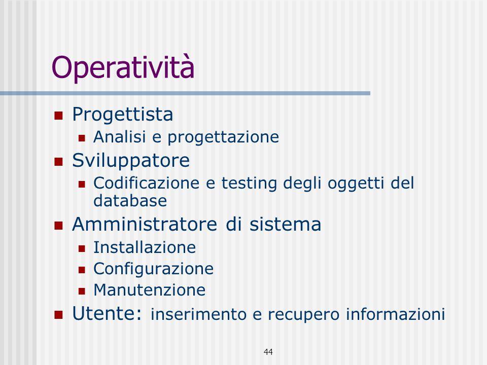 44 Operatività Progettista Analisi e progettazione Sviluppatore Codificazione e testing degli oggetti del database Amministratore di sistema Installazione Configurazione Manutenzione Utente: inserimento e recupero informazioni