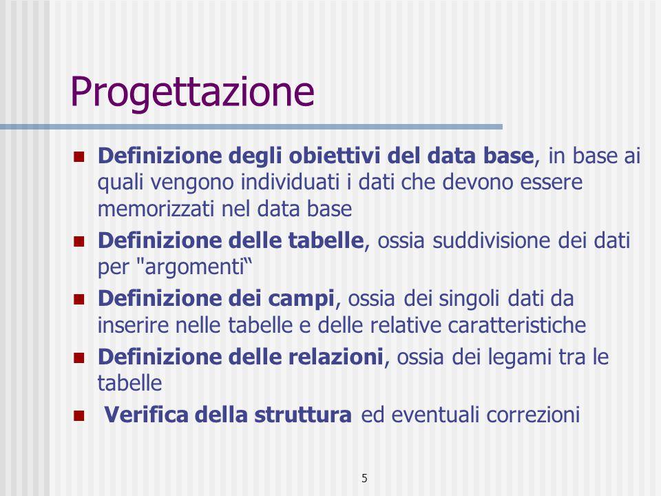 5 Progettazione Definizione degli obiettivi del data base, in base ai quali vengono individuati i dati che devono essere memorizzati nel data base Def