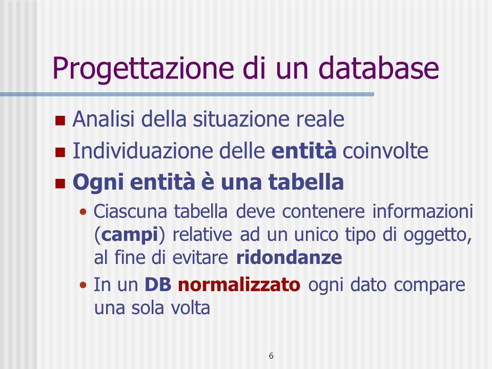 6 Progettazione di un database Analisi della situazione reale Individuazione delle entità coinvolte Ogni entità è una tabella Ciascuna tabella deve contenere informazioni (campi) relative ad un unico tipo di oggetto, al fine di evitare ridondanze In un DB normalizzato ogni dato compare una sola volta