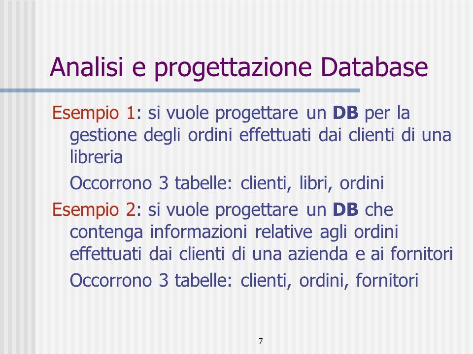 7 Analisi e progettazione Database Esempio 1: si vuole progettare un DB per la gestione degli ordini effettuati dai clienti di una libreria Occorrono