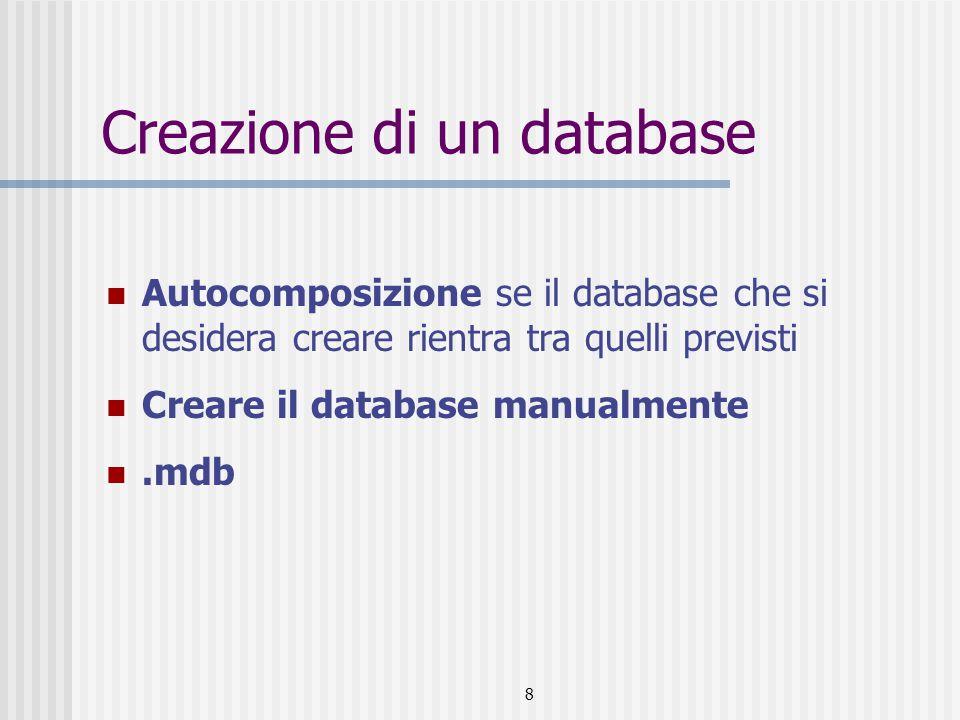8 Creazione di un database Autocomposizione se il database che si desidera creare rientra tra quelli previsti Creare il database manualmente.mdb