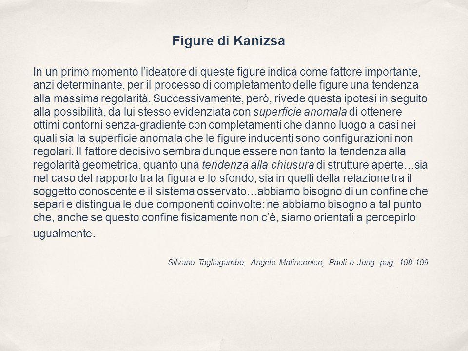 Figure di Kanizsa In un primo momento l'ideatore di queste figure indica come fattore importante, anzi determinante, per il processo di completamento delle figure una tendenza alla massima regolarità.