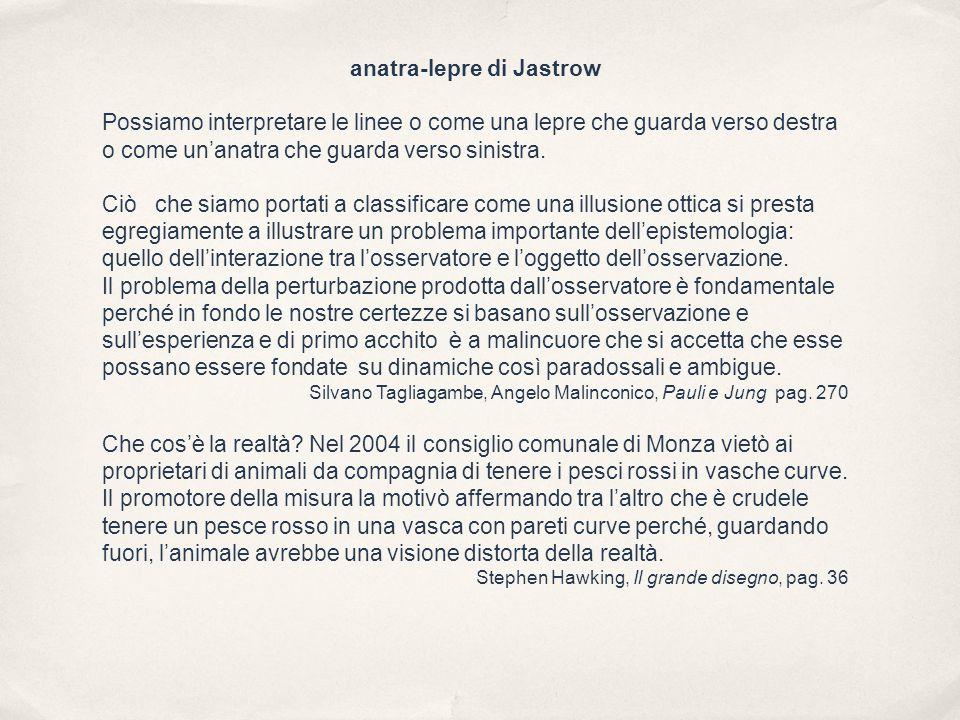 anatra-lepre di Jastrow Possiamo interpretare le linee o come una lepre che guarda verso destra o come un'anatra che guarda verso sinistra.