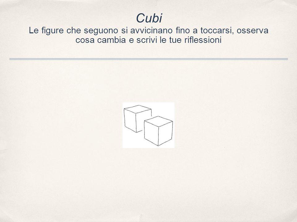 Cubi Le figure che seguono si avvicinano fino a toccarsi, osserva cosa cambia e scrivi le tue riflessioni