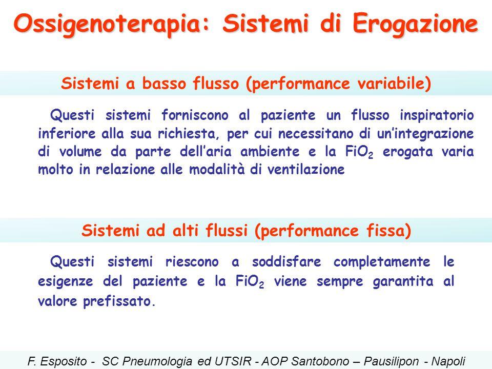 Ossigenoterapia: Sistemi di Erogazione Sistemi a basso flusso (performance variabile) Sistemi ad alti flussi (performance fissa) Questi sistemi fornis