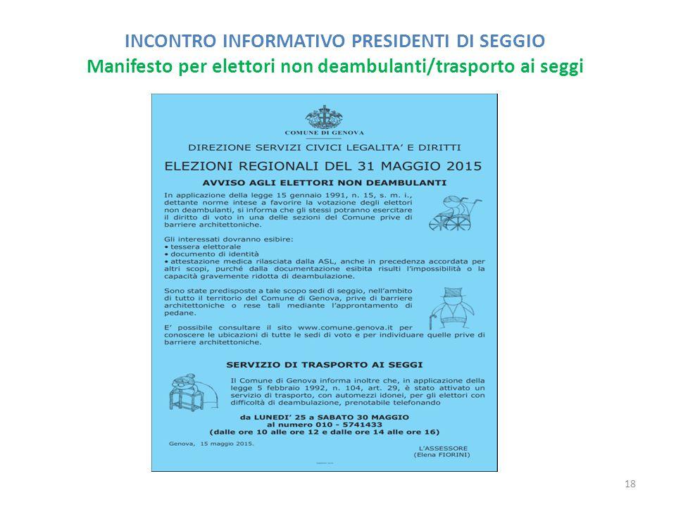 18 INCONTRO INFORMATIVO PRESIDENTI DI SEGGIO Manifesto per elettori non deambulanti/trasporto ai seggi