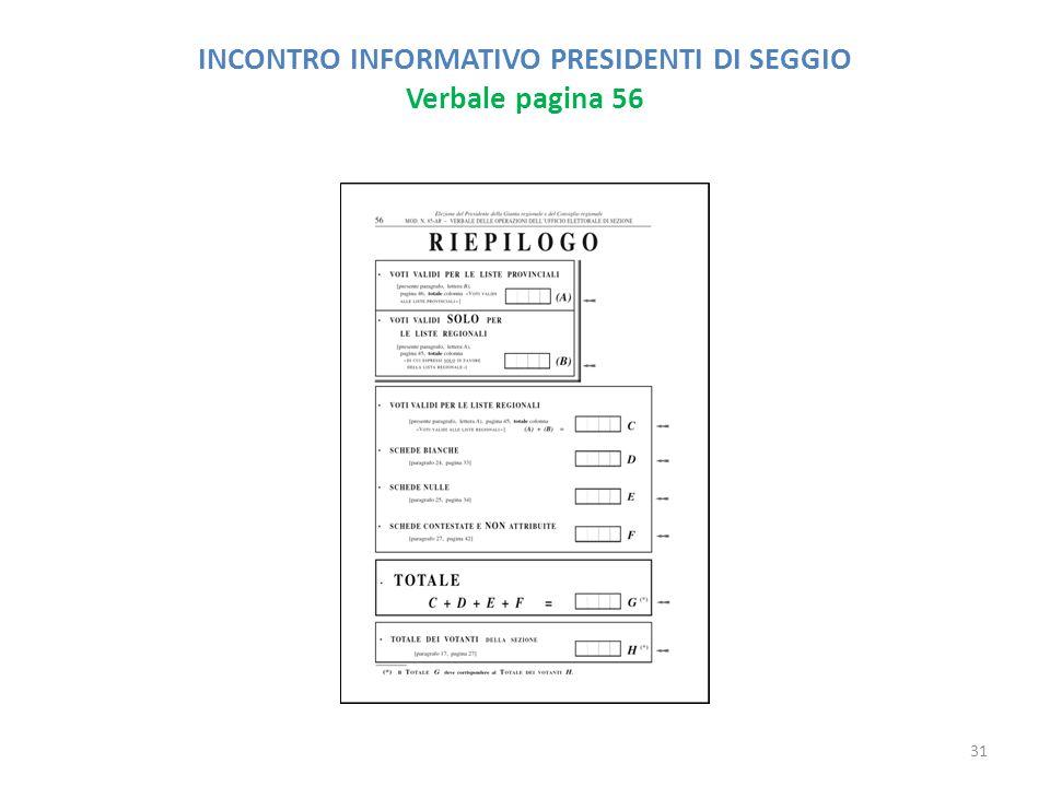 INCONTRO INFORMATIVO PRESIDENTI DI SEGGIO Verbale pagina 56 31