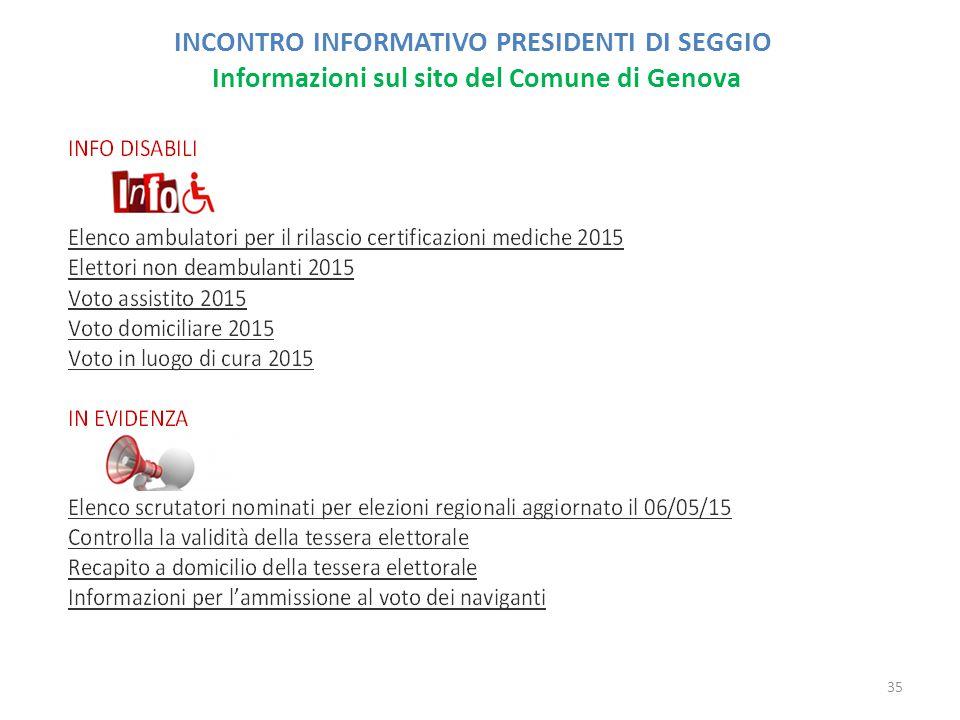 INCONTRO INFORMATIVO PRESIDENTI DI SEGGIO Informazioni sul sito del Comune di Genova 35