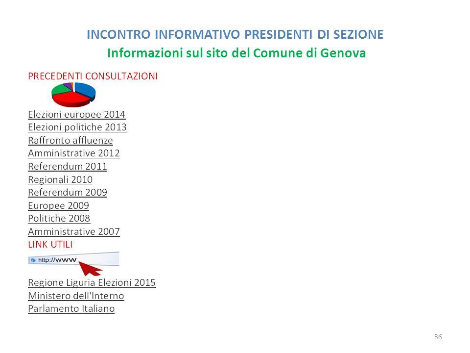 INCONTRO INFORMATIVO PRESIDENTI DI SEZIONE Informazioni sul sito del Comune di Genova 36