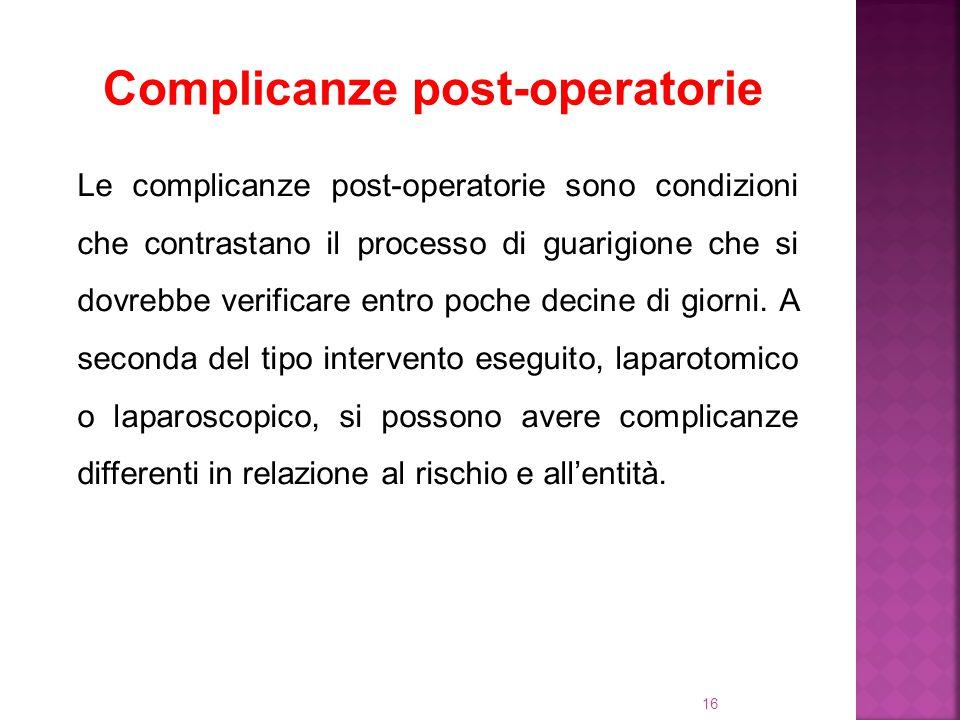 16 Complicanze post-operatorie Le complicanze post-operatorie sono condizioni che contrastano il processo di guarigione che si dovrebbe verificare ent