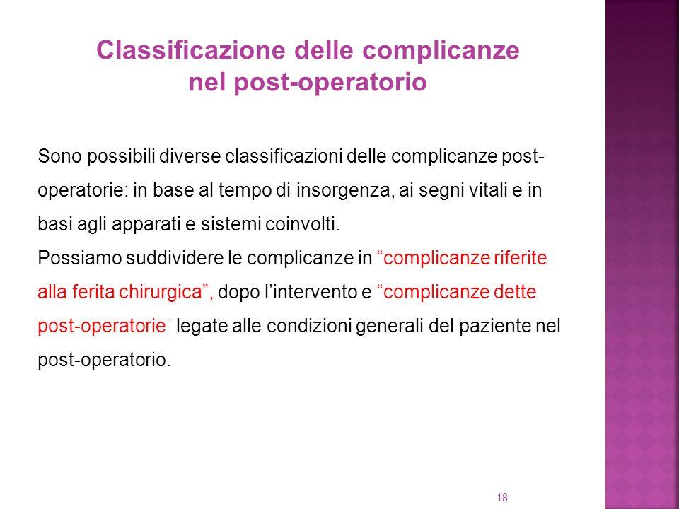 18 Classificazione delle complicanze nel post-operatorio Sono possibili diverse classificazioni delle complicanze post- operatorie: in base al tempo d