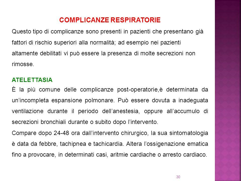 30 COMPLICANZE RESPIRATORIE Questo tipo di complicanze sono presenti in pazienti che presentano già fattori di rischio superiori alla normalità; ad es