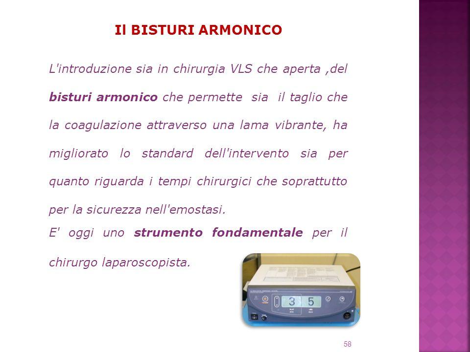 Il BISTURI ARMONICO L'introduzione sia in chirurgia VLS che aperta,del bisturi armonico che permette sia il taglio che la coagulazione attraverso una
