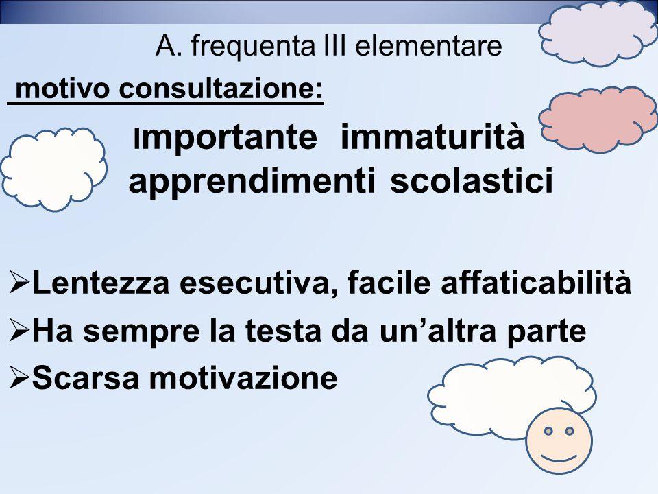 A. frequenta III elementare motivo consultazione: I mportante immaturità apprendimenti scolastici  Lentezza esecutiva, facile affaticabilità  Ha sem
