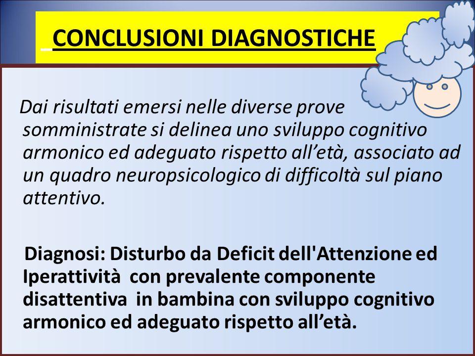 CONCLUSIONI DIAGNOSTICHE Dai risultati emersi nelle diverse prove somministrate si delinea uno sviluppo cognitivo armonico ed adeguato rispetto all'et