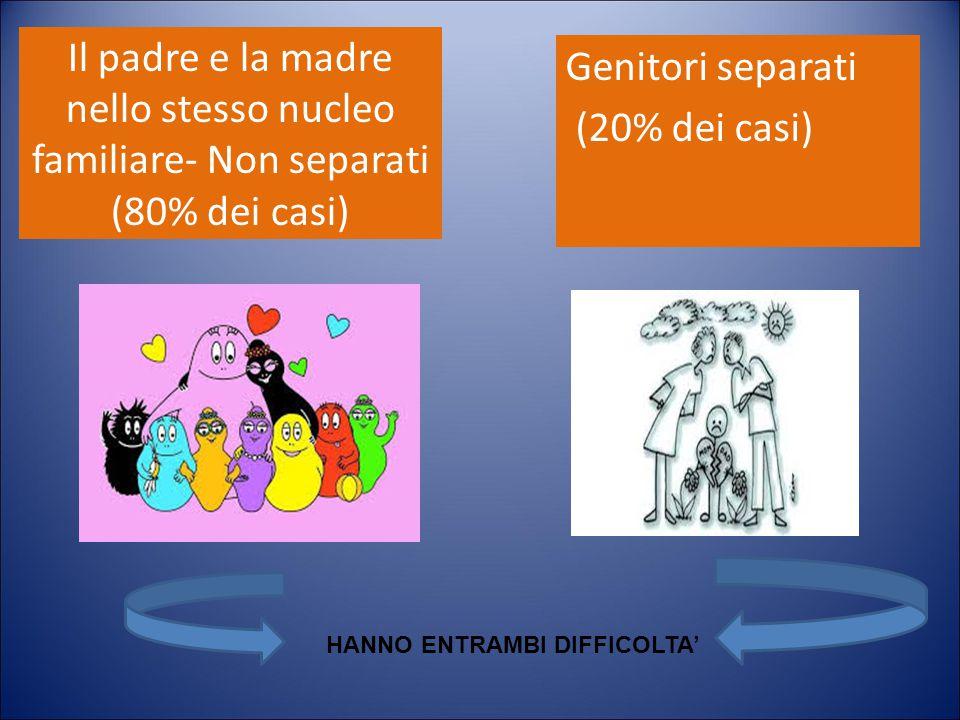 Il padre e la madre nello stesso nucleo familiare- Non separati (80% dei casi) Genitori separati (20% dei casi) HANNO ENTRAMBI DIFFICOLTA'