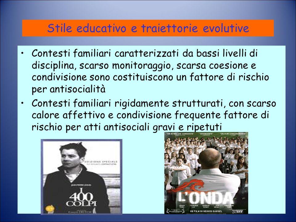 Stile educativo e traiettorie evolutive Contesti familiari caratterizzati da bassi livelli di disciplina, scarso monitoraggio, scarsa coesione e condi