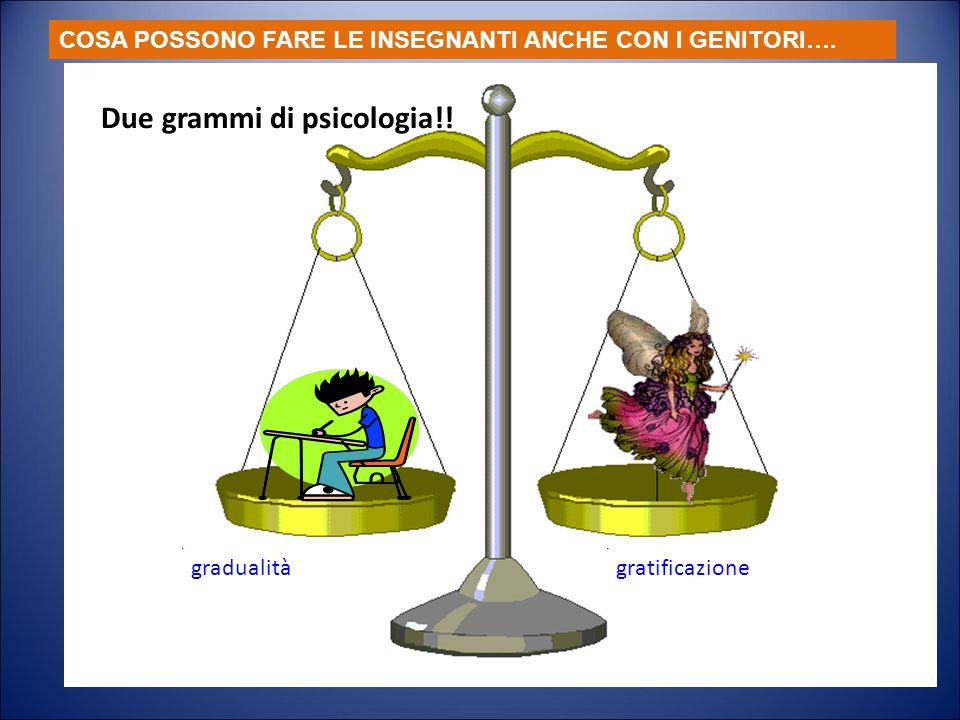 Due grammi di psicologia gradualità gratificazione Due grammi di psicologia!! COSA POSSONO FARE LE INSEGNANTI ANCHE CON I GENITORI….