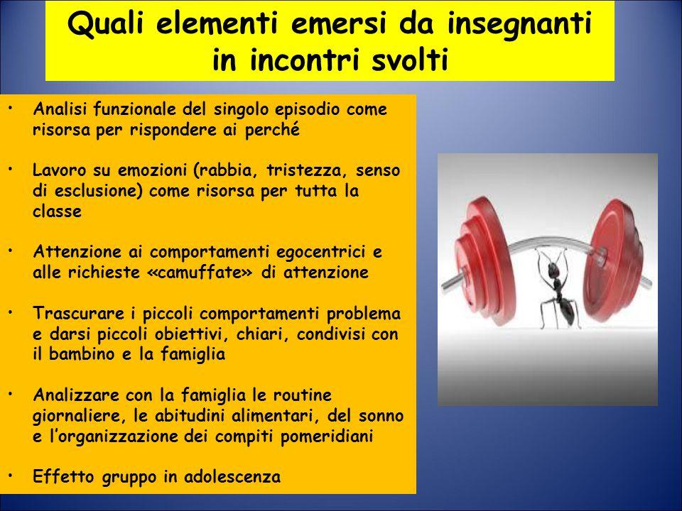 Quali elementi emersi da insegnanti in incontri svolti Analisi funzionale del singolo episodio come risorsa per rispondere ai perché Lavoro su emozion