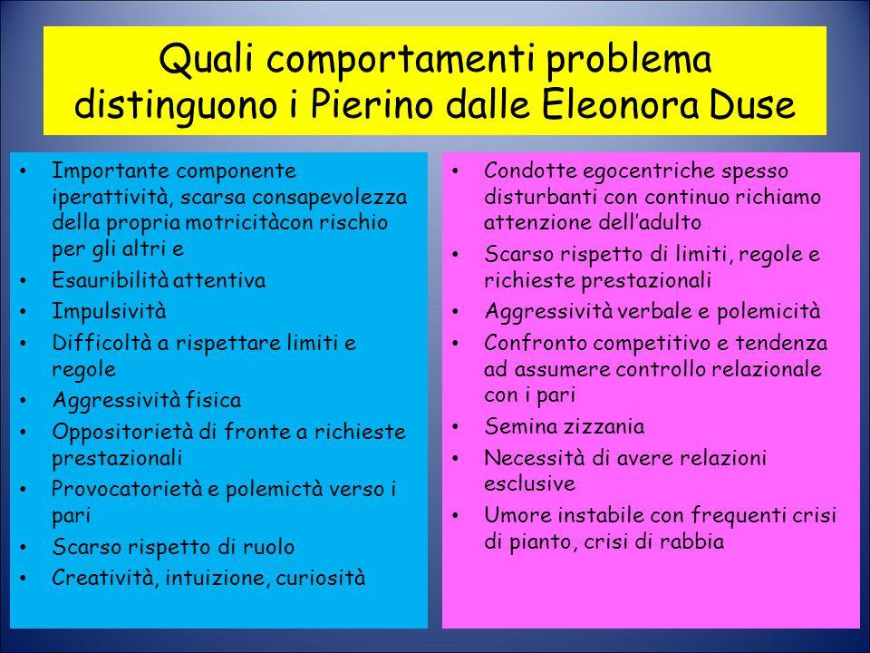 Quali comportamenti problema distinguono i Pierino dalle Eleonora Duse Importante componente iperattività, scarsa consapevolezza della propria motrici