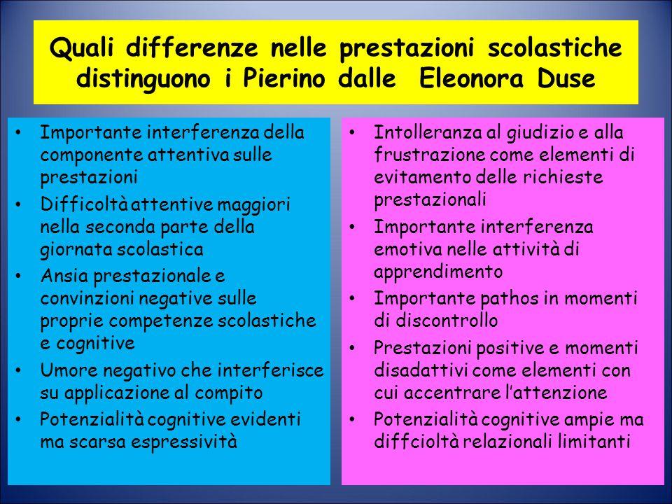 Quali differenze nelle prestazioni scolastiche distinguono i Pierino dalle Eleonora Duse Importante interferenza della componente attentiva sulle pres