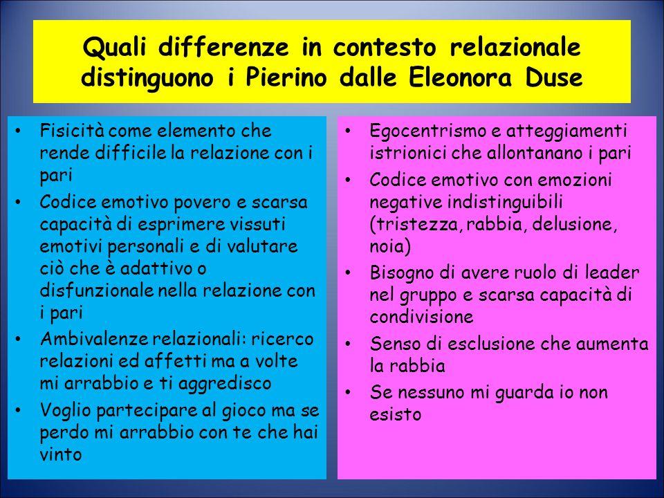 Quali differenze in contesto relazionale distinguono i Pierino dalle Eleonora Duse Fisicità come elemento che rende difficile la relazione con i pari