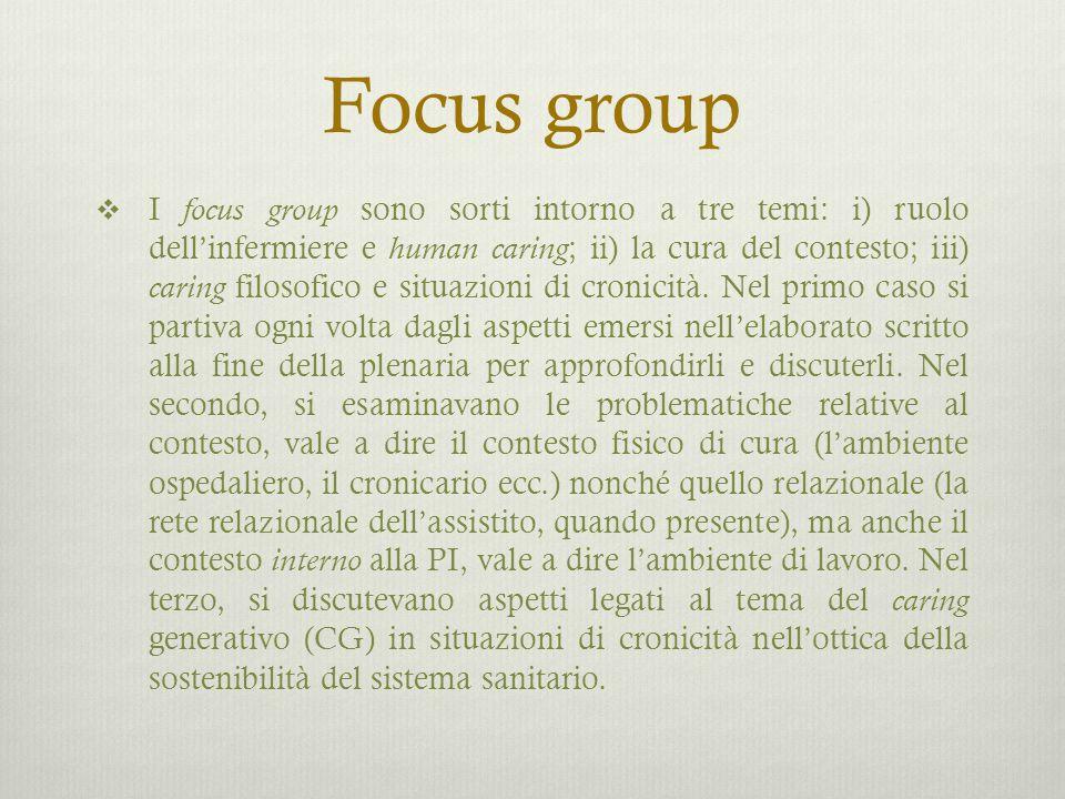 Focus group  I focus group sono sorti intorno a tre temi: i) ruolo dell'infermiere e human caring ; ii) la cura del contesto; iii) caring filosofico e situazioni di cronicità.