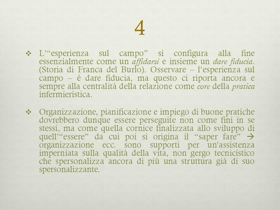 """4  L'""""esperienza sul campo"""" si configura alla fine essenzialmente come un affidarsi e insieme un dare fiducia. (Storia di Franca del Burlo). Osservar"""