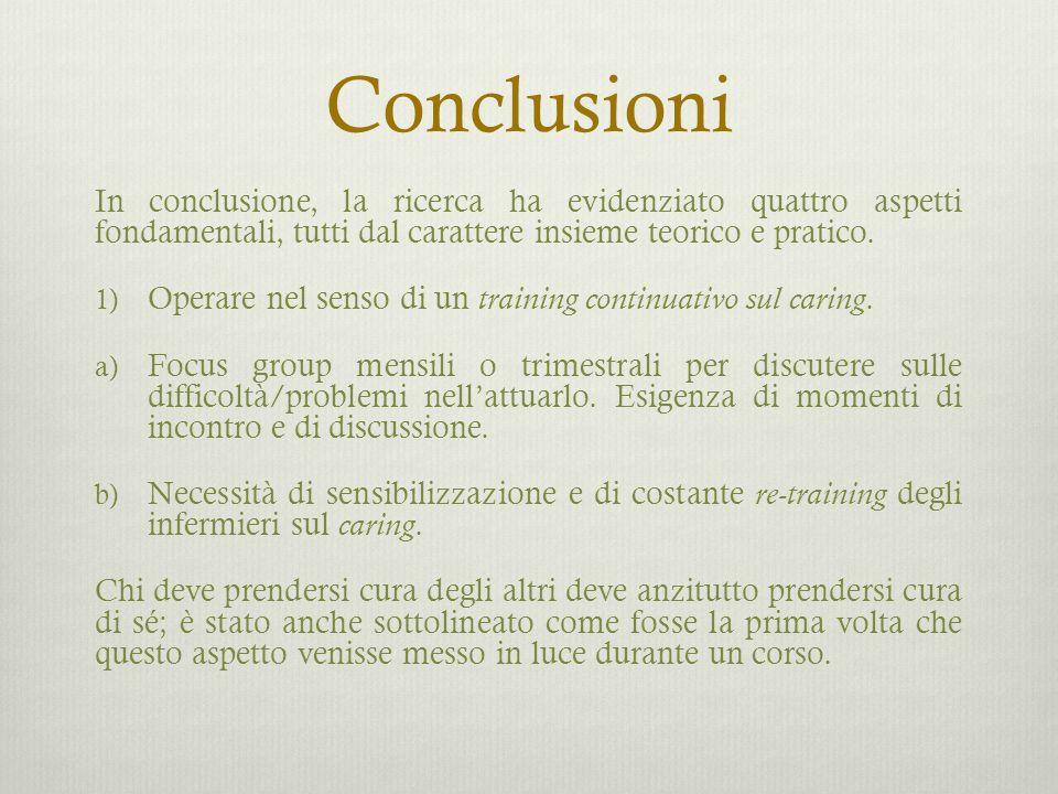 Conclusioni In conclusione, la ricerca ha evidenziato quattro aspetti fondamentali, tutti dal carattere insieme teorico e pratico. 1) Operare nel sens