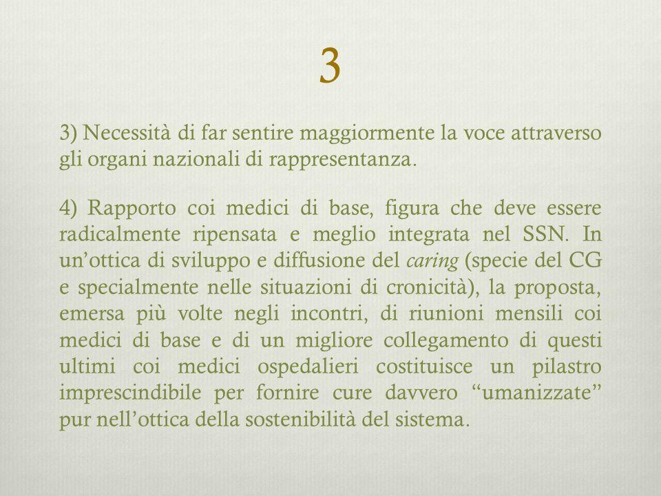 3 3) Necessità di far sentire maggiormente la voce attraverso gli organi nazionali di rappresentanza. 4) Rapporto coi medici di base, figura che deve