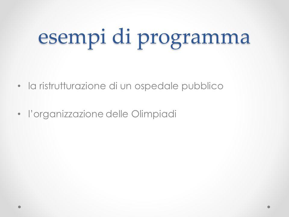 esempi di programma la ristrutturazione di un ospedale pubblico l'organizzazione delle Olimpiadi