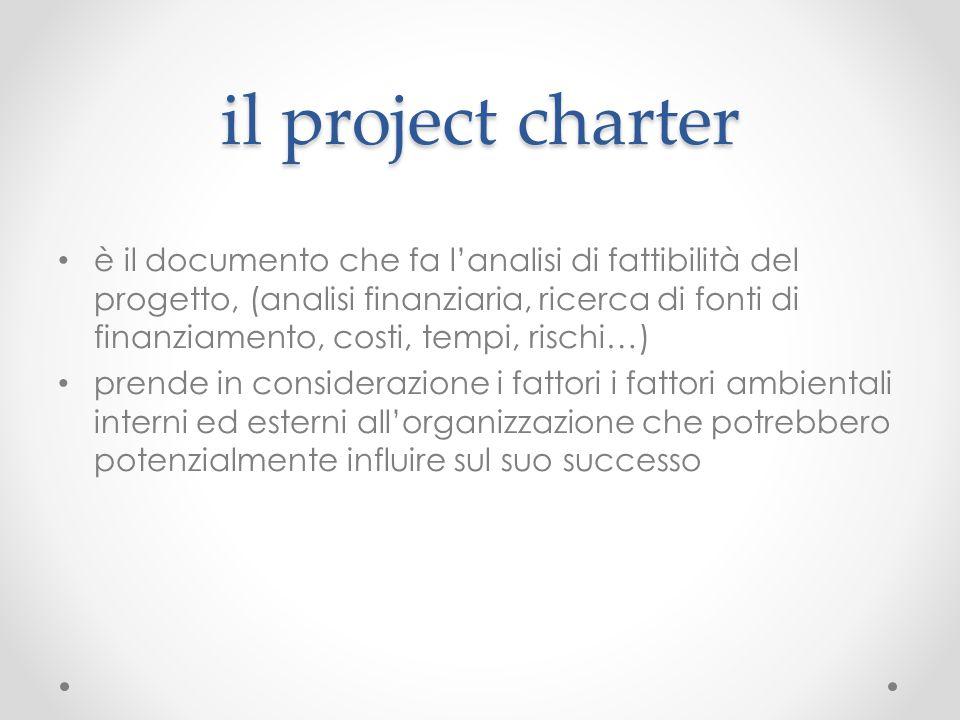 il project charter è il documento che fa l'analisi di fattibilità del progetto, (analisi finanziaria, ricerca di fonti di finanziamento, costi, tempi,